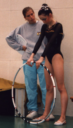 Before a competition with coach Natalia Brettes (1998)