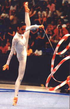 Almudena during her ribbon routine